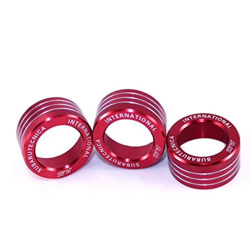 3x AC Knob Control Volume Red Cover Rings Trim for Subaru BRZ FR-S Toyota 86 GT86 FT86
