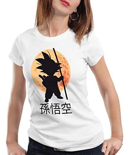 style3 Goku Moonlight Camiseta para Mujer T-Shirt, Color:Blanco;Talla:M
