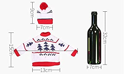 LYFWL Christmas Decoration Creative Knitting Red Bottle Sets The Restaurant Supermarket Wine Sets Decorated Christmas Tree Set Champagne Bottle Caps 9 7Cm Clothes 15 29Cm