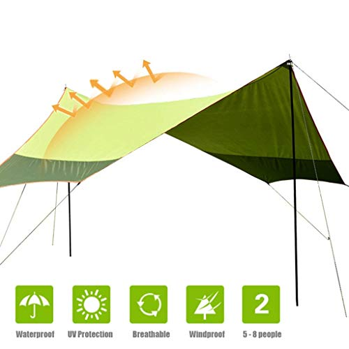 MYPNB Camping Tarp 16.5 * 14.5, Hex Sun Shelter Tarp Tent, Outdoor Canopy Tent, UPF 40 +, PU3000mm+ Waterproof, Grand Beach Sunshade, Support Poles Included, For 5-8 People