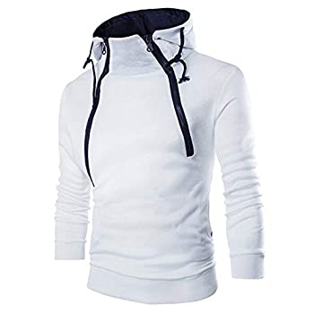 MODOQO Men s Hoodies Long Sleeve Zipper High Neck Sweatshirt Top Jacket Coat White ,L