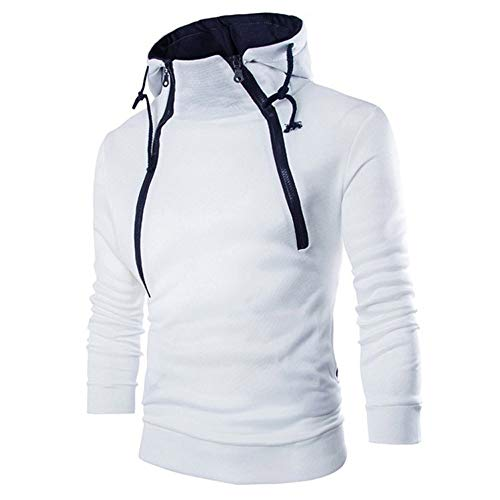 Sport Herren Sweatshirt Hoodie,Kanpola Männer Fitness Training Crewneck Shirt Slim Modern Langarmshirt Warm Basic Pullover (EU-54/CN-3XL, Weiß)