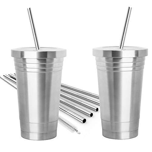 2pezzi in acciaio INOX tumbler (453,6gram) in acciaio INOX con 4cannucce, 2spazzole per la pulizia & doppio strato isolante–Bicchiere da viaggio per bevande calde e fredde