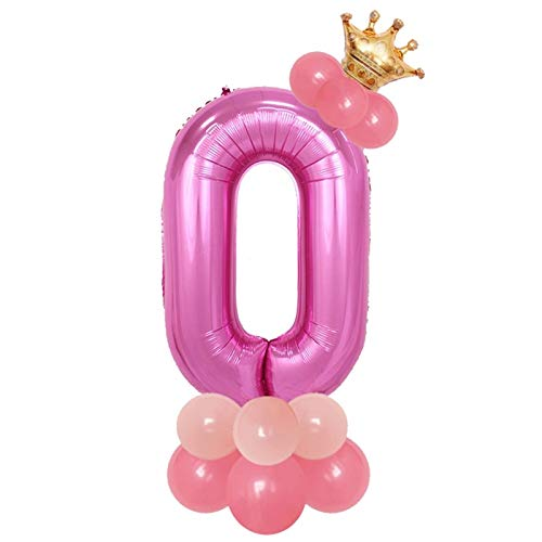 Xssbhsm Balloons Rose Gold Number Foil Balloons Happy Birthday Balloons Baby Shower Kids Birthday Party Decorations blue pink Number (Color : 14pcs rosered set 0)