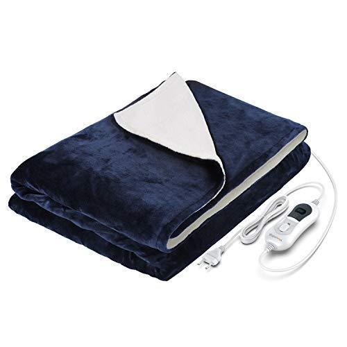 WAPANEUS Elektrische Heizdecke  mit Abschaltautomatik mit 3 Heizstufen ,Weiches Plüsch Erhitzt Wärmedecke mit Schnellaufheizen und Maschinenwaschbare Stoffe für Sofa Bett 180 * 130 cm