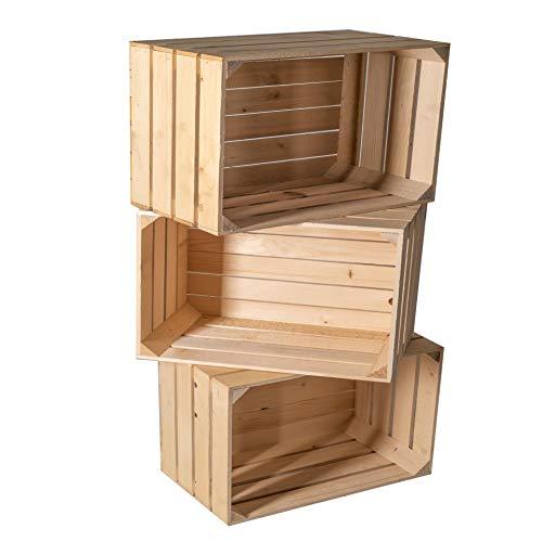 Holzkisten Dekokisten Kisten Spielzeugkisten Obstkisten für Wohnung, Haus oder Garten Dekokiste Kiste Holz Weinkisten Holzboxen 50 x 40 x 30 cm (3x Natur)