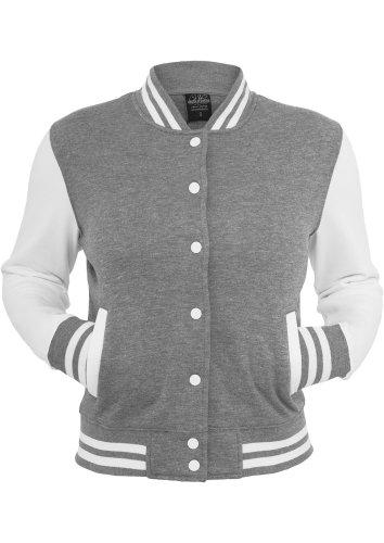 URBAN CLASSICS Ladies 2-tone College Sweatjacket, grey/white, Gr. L