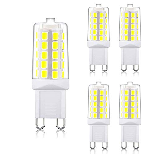 G9 LED Bulb Daylight 4W, 40W T4 G9 Halogen Equivalent,6000K 120V No-Flicker, Chandelier Lighting 450LM Non-Dimmable (5 Pack) by BAOMING