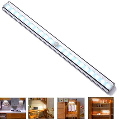 USB充電式 人感センサーライト 昼白色 長さ36.5CM LEDテープライト 20LED ワイヤレス モーション センサーライト 自動点灯 超寿命 高感度 省エネ 磁気式 簡単な取り付け 夜間ライト クロゼット/キャビネット/階段照明/廊下/玄関/寝室/