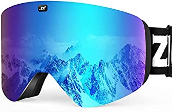 ZIONOR X11 Ski Snowboard Snow Goggles with Magnetic Interchangeable Cylindrical Lens Anti-Fog UV Protection for Men Women Adult (VLT 6% Pink Lens)