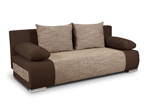 Schlafsofa Naki - Sofa mit Schlaffunktion und Bettkasten, Bettsofa, Couchgarnitur, Couch, Sofagarnitur, Bett (Braun + Beige (Alova 68 + Berlin 03))