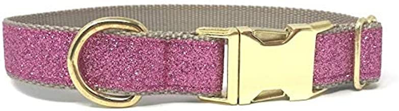 Big Pup Pet Fashion Fancy Dark Pink and Gold Glitter Dog Collar for Girls, Bling, Sparkling Dog Collar