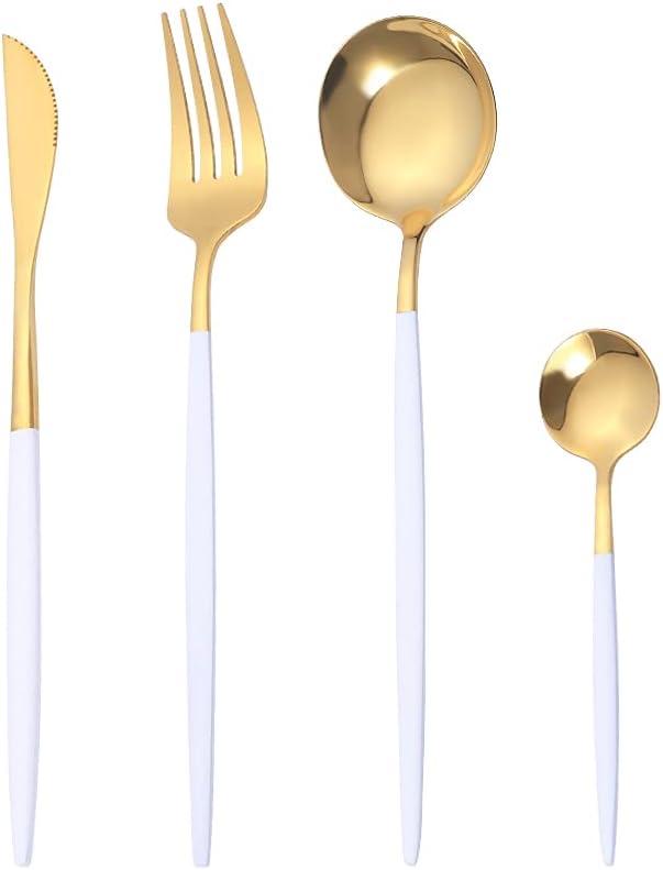 OUQIWEN Juego de cubiertos, 8 piezas juego de cubiertos de acero inoxidable blanco y dorado de , Juego de cubiertos de oro blanco,Incluyendo cuchillo / tenedor / cuchara / cucharadita,para 2 personas