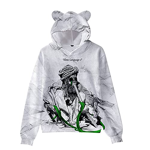 De.Pommeyeux Slime Language 2 Cat Ear Hoodie Hip Hop Sudaderas Casual Sudaderas Chica Mujeres 3D Pullover (KA06588,4XL,)