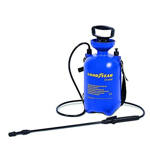 Goodyear pulverizador a presión de 5 litros Multiusos. 2 Bares de presión. Boquilla de latón Regulable.