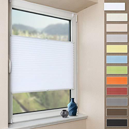 Plissee Klemmfix Faltrollo ohne Bohren Jalousie (Weiß, B100cm x H200cm) Plisseerollo Blickdicht Sichtschutz und Sonnenschutz für Fenster & Tür