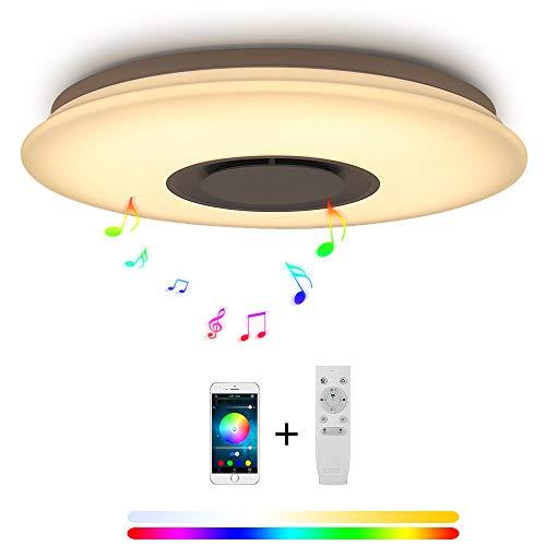 YEEZET Plafoniera LED Con telecomando Musica Bluetooth Altoparlante 24W Smartphone Controllo App, Cambia colore,RGB, per Stanza dei bambini, Camera da Letto, Sala Da Pranzo