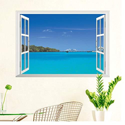 Muursticker natuur zee hemel landschap 3D afneembaar raam kijkvenster wandsticker woonkamer slaapkamer decoratie wanddecoratie 50 x 70 cm