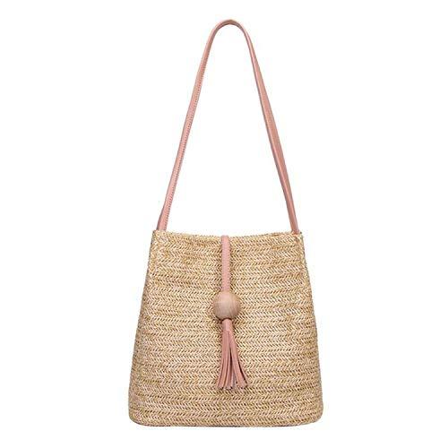 Feing Straw Bag Estate Secchio Borse Borse Di Paglia Intreccio Donne Borsa A Spalla Nappa Tote, Rosa (rosa), Taglia unica