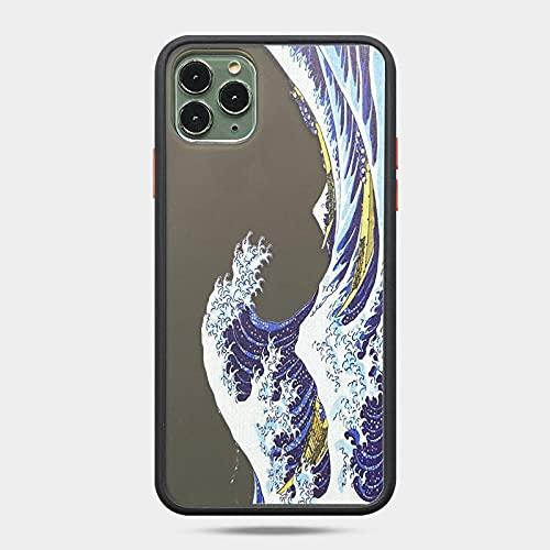 Kanagawa Ukiyoe - Carcasa protectora de silicona para iPhone 12 11 Pro X S Max XR 6 7 8 Plus (poliuretano termoplástico)