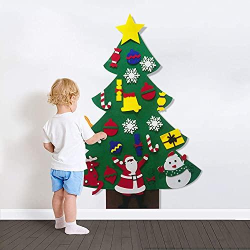 XIKUO Árbol de Navidad de fieltro de pared para niños con adornos desmontables, materiales educativos para la primera infancia, decoraciones para colgar en la pared de puerta de fiesta de año nuevo,