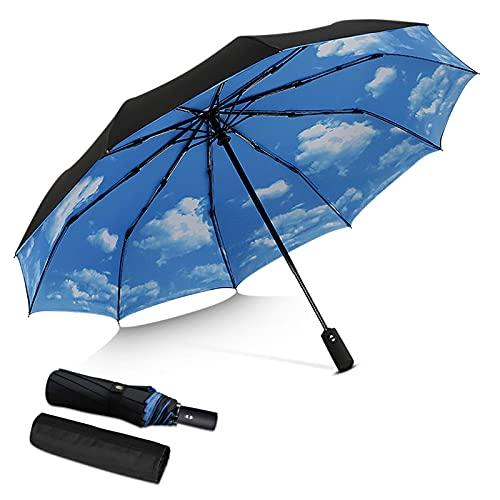 Paraguas plegable automático para hombre y mujer, extra fuerte, resistente al viento, portátil, compacto, para viajes, negocios, paraguas, lluvia, negro, a BJY969 (color azul B)