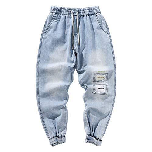Feidaeu Jeans Casual da Uomo con Coulisse Elastico in Vita strappato Streewear Denim Vintage Pantaloni Larghi durevoli