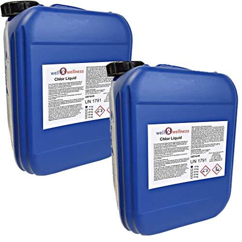 well2wellness® Chlor Liquid - stabilisiertes Flüssigchlor Chlorbleichlauge 2 x 6 kg
