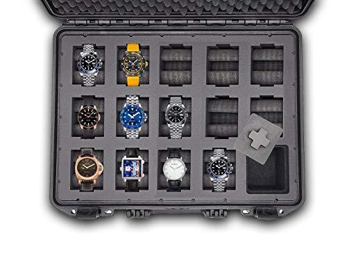 MC-CASES® - Caja para relojes con espacio para 14 piezas - Maletín de viaje impermeable y con un cierre seguro - Máxima protección - Fabricada en Alemania