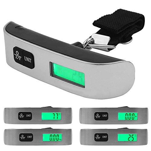 Wosume Bilancia pesa valigie Digitale, Display LCD Portatile elettronico Portatile da Viaggio Bilancia pesa valigie Digitale New Silver(con la Luce)