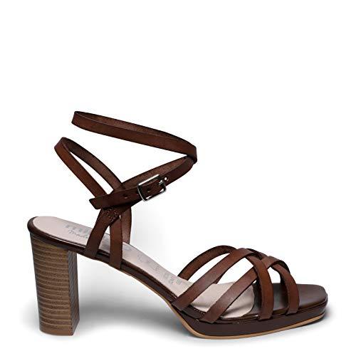 Zapatos miMaO. Zapatos de Piel Hechos EN ESPAÑA. Sandalias Tacón Alto Cómodas. Sandalias Fiesta Primavera Verano miMaO con Plantilla Gota Ultra Confort Gel