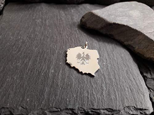 POLEN Landkarte Anhänger in 925er Silber & Wappen Gravur, Polska