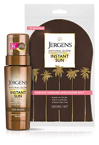 Jergens Natural Glow Instant Sun Body Mousse, Dark Self Tanner for Deep Aruba Tan, Sunless Tanning Body Bronzer, Natural-looking Fake Tan, 6 Ounce