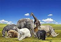 HD野生動物の背景ポリエステル生地7x5ft子供サファリ写真背景子供誕生日パーティーの装飾学校イベント装飾デジタルスタジオ小道具