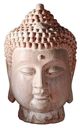 Desktop-Skulptur Buddha Kopf Statue, Buddha Kopf Garten Skulptur Ornamente Keramikkunst Buddhistische Anbetung Gläubige Meditation Geschenk Ornamente
