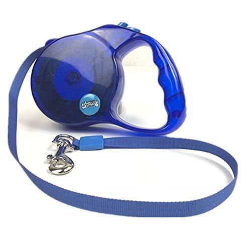 GEN Transparente Ausziehleine aus Kordel in Blau | Hundeleine bis 12 kg | 5 Meter Leine