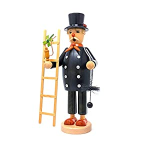 Drechslerei Friedbert Uhlig 027/g - Figura de deshollinador (35 cm de alto, madera regional, torneada, hecha a mano de los Montes Metálicos, Navidad, arte de madera, madera auténtica)