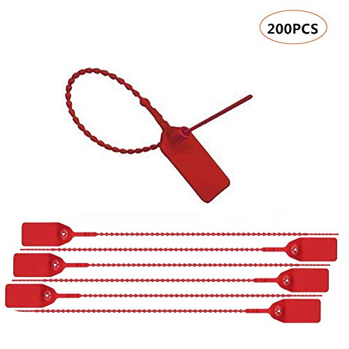 Red Security Seal Pull Tie Tags Plastic Security Seal Anti-Tamper Plastic Truck Door Seals(200 Pack)