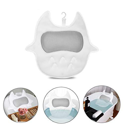 Bilisder Badewannenkissen rutschfest, mit 3D-Air-Mesh-Technologie und 5 Saugnäpfen,Geeignet für Badewannen und Home Spa, Stützfunktion für Kopf, Rücken, Nacken