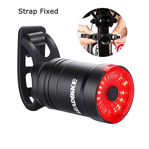 Luz trasera para bicicleta, luz inteligente con sensor de freno, Ipx6, impermeable, recargable, 6 modos de flash