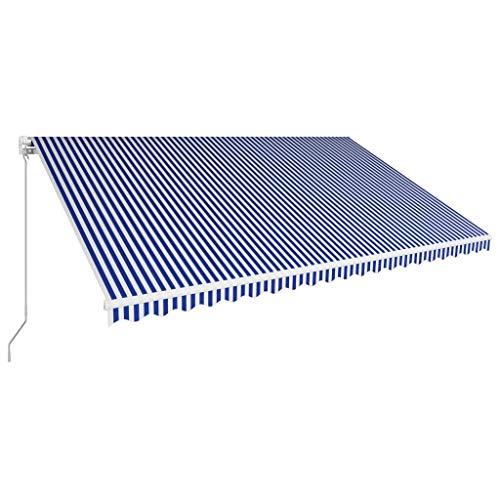 Tidyard Luifel Handmatig Uittrekbaar Buiten Tuin Zonnescherm Luifel Gazebo Waterdicht Anti-UV 500X300 cm Blauw en Wit