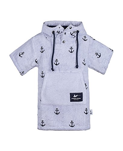 Atlantic Shore | Surf Poncho ➤ Bademantel/Umziehhilfe aus hochwertiger Baumwolle ➤ Limited Anchor Edition ➤ für Kids ➤ Offshore White - Short