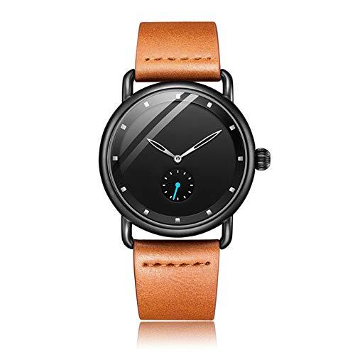 Hktec Relojes de hombre de negocios, informal, minimalista, reloj de cuarzo, ultra fino, resistente al agua, correa de piel, regalo para hombres, regalo de cumpleaños, regalo del día del padre