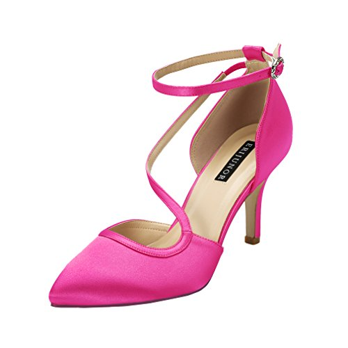 ERIJUNOR E1706 Women Comfortable Mid Heel Ankle Strappy Dress Pumps Pointed Toe Satin Wedding Evening Party Shoes Hot Pink Size 7.5