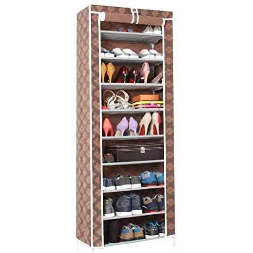 DXMRWJ Zapatero de 9 estantes con Cubierta Unidad de Almacenamiento de Zapatos Que Ahorra Espacio Organizador de Zapatos de Entrada (Color: Color 1)
