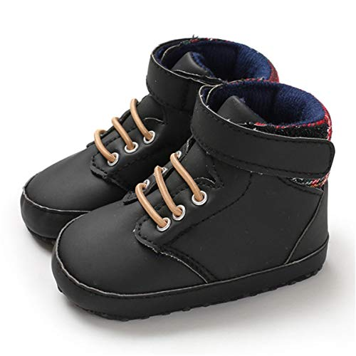 BENHERO Baby Boys Girls High Top Sneakers Anti-Slip Sole Infant Toddler First Walker Outdoor Newborn Crib Shoes (12-18 Months Infant, A/Black)