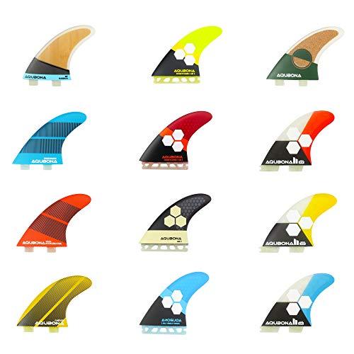 AQUBONA Aletas de fibra de vidrio de doble pestaña MF FINS para surf con bolsa de aleta y llave de aleta