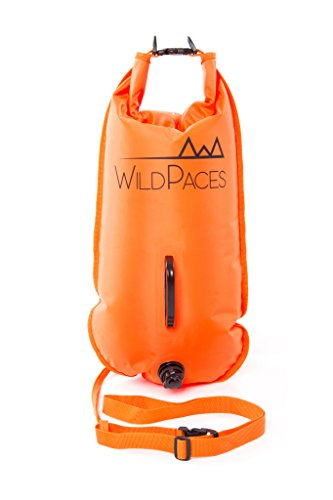 WildPaces Swim Buoy Safety Tow Float 28 litres Dry Bag High Visibility Orange Ideal for Open Water Swimming SUP Kayaking Fishing Snorkeling