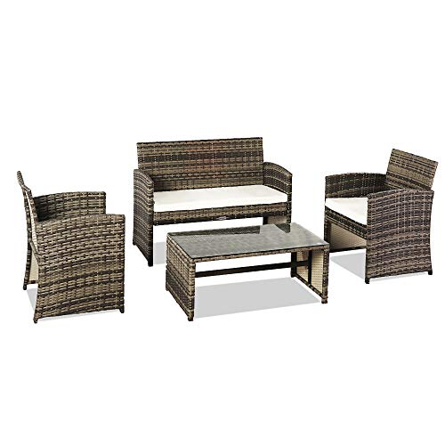 Veryke 4-Piece Patio Rattan Wicker Furniture Set, Indoor/Outdoor Conversation Set Garden Furniture Set with Loveseat Sofa & Armchair and Table for Backyard Porch Poolside Balcony Use, Grey
