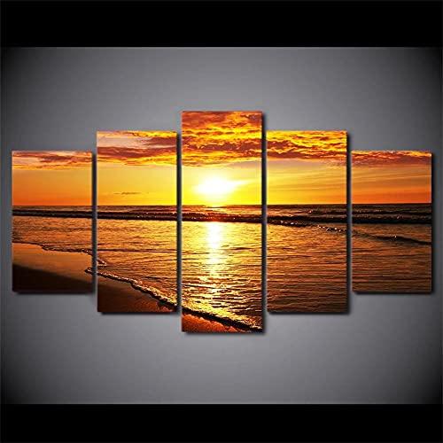 MPPSU Pintura-Atardecer-Dorado-Paisaje-Playa 5 Paneles Impresión HD Cuadros Decoracion Dormitorios Salon Modernos 150Cm×80Cm...